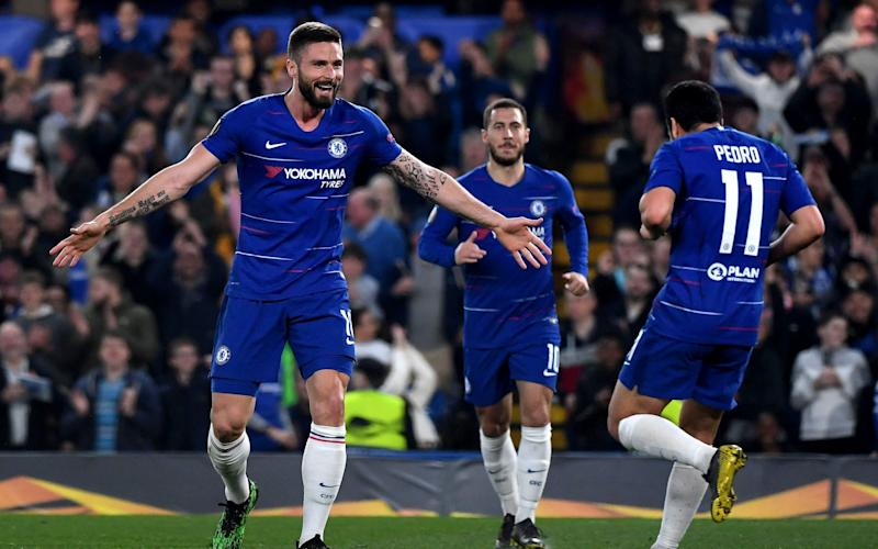 Chelsea's first-half display was enough to see them through to the Europa League semi-finals - REX