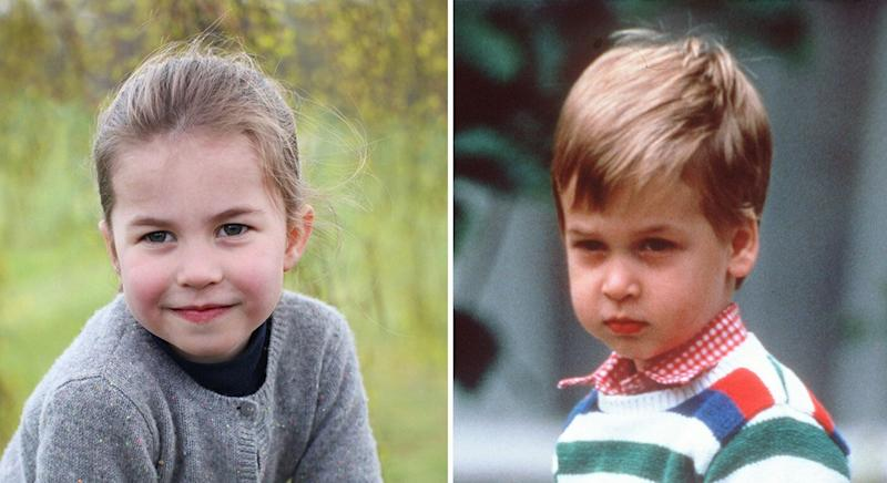 Princess Charlotte has a strong resemblance to her father Prince William, right, at a similar age. [Photo: PA/Getty]