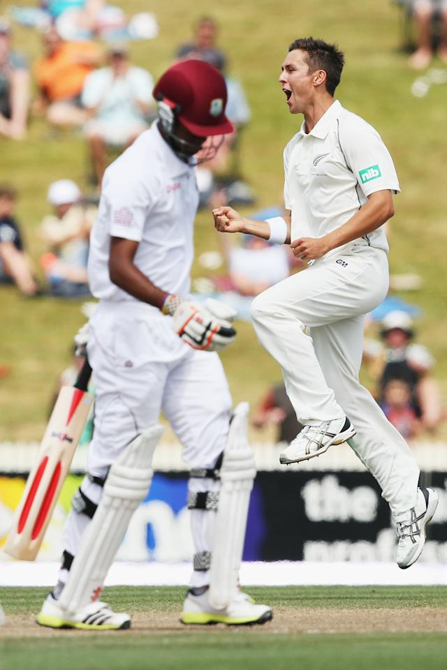 HAMILTON, NEW ZEALAND - DECEMBER 21: Trent Boult of New Zealand celebrates the wicket of Kraigg Brathwaite of the West Indies during day three of the Third Test match between New Zealand and the West Indies at Seddon Park on December 21, 2013 in Hamilton, New Zealand.  (Photo by Hannah Johnston/Getty Images)