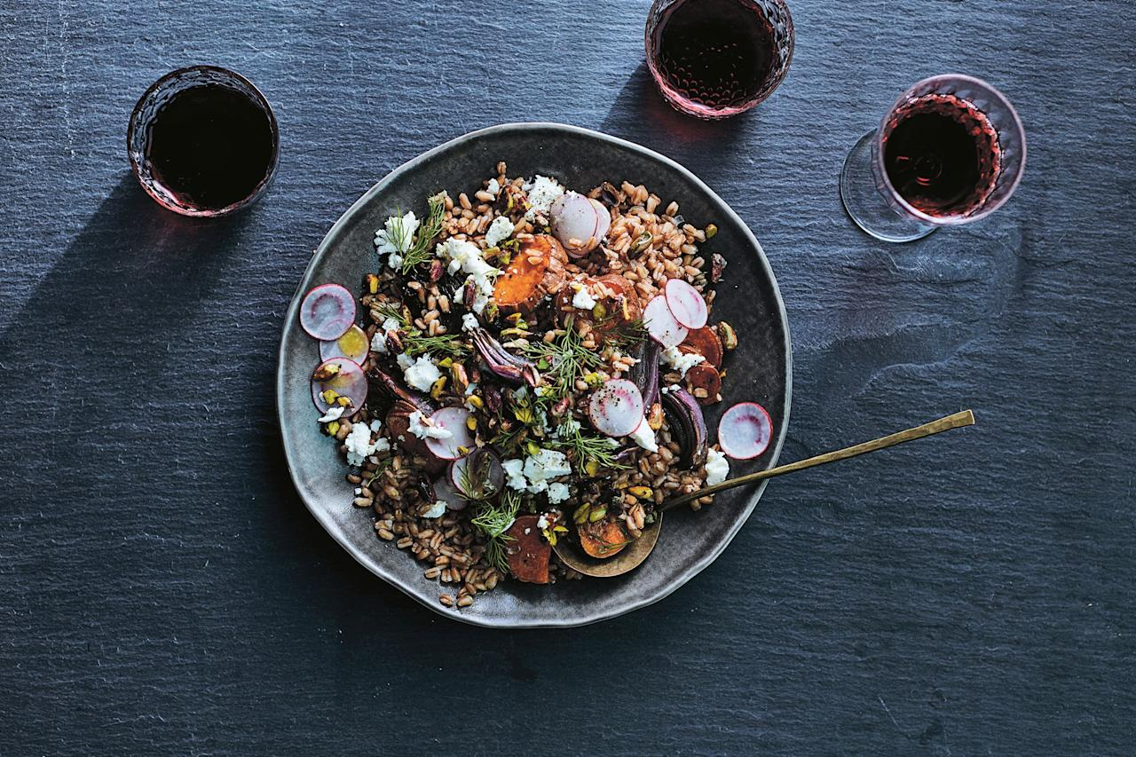 """Here, sweet potatoes and red onions caramelize gorgeously in the oven, while the earthy goat cheese and zippy vinaigrette balance out the sweetness. <a href=""""https://www.epicurious.com/recipes/food/views/farro-salad-with-roasted-sweet-potatoes-red-onion-and-goat-cheese?mbid=synd_yahoo_rss"""">See recipe.</a>"""