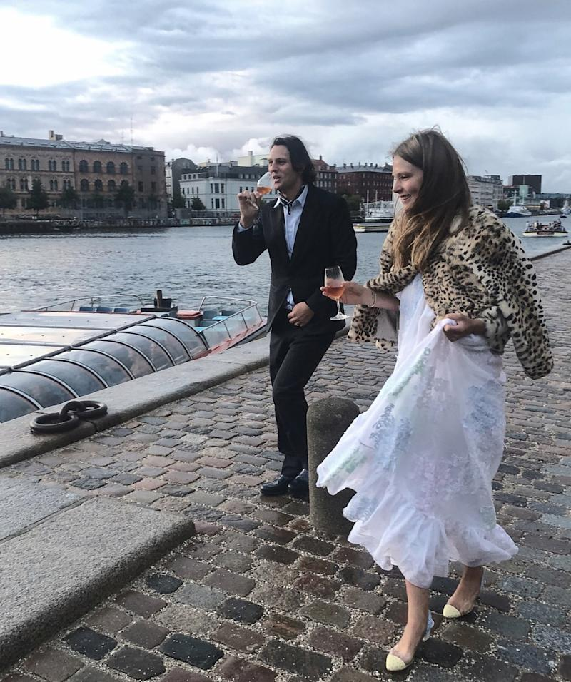 The Danish model Caroline Brasch Nielsen and her now husband Frederik Bille Brahe, a chef, took over the canals of Copenhagen for a day in August for a ceremony complete with sunflowers and their pet border collie.