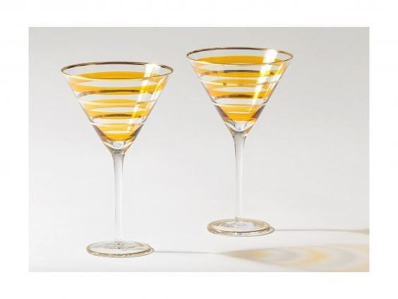 Sit back and relax with your new-found martini making skills with this stylish set of glassware (Oliver Bonas)