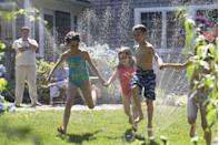"""<p>Break out the sprinklers and the garden hose to create a water park in your very own backyard. You can also create a simple obstacle course, which will keep kids entertained (and cool!) for hours. </p><p><a class=""""link rapid-noclick-resp"""" href=""""https://www.amazon.com/Backyards-Waterslide-plasSliding-Sprinklers-Construction/dp/B08G1DVQG9/ref=sr_1_2?dchild=1&keywords=slip+and+slide&nav_sdd=aps&pd_rd_r=0d177b3e-1de9-4a97-8902-d1d6c366e13b&pd_rd_w=wMw5j&pd_rd_wg=FETKJ&pf_rd_p=adda2ada-d07d-4d4a-947d-919ba9115709&pf_rd_r=PWN99DG8VZ7W71P02XTC&qid=1621522528&refinements=p_n_age_range%3A165936011&s=toys-and-games&sr=1-2&tag=syn-yahoo-20&ascsubtag=%5Bartid%7C10050.g.4463%5Bsrc%7Cyahoo-us"""" rel=""""nofollow noopener"""" target=""""_blank"""" data-ylk=""""slk:SHOP WATER GAMES"""">SHOP WATER GAMES</a></p>"""