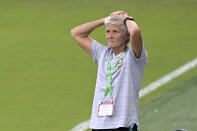 Brazil head coach Pia Sundhage reacts on the sideline during the first half of a SheBelieves Cup women's soccer match against Canada, Wednesday, Feb. 24, 2021, in Orlando, Fla. (AP Photo/Phelan M. Ebenhack)