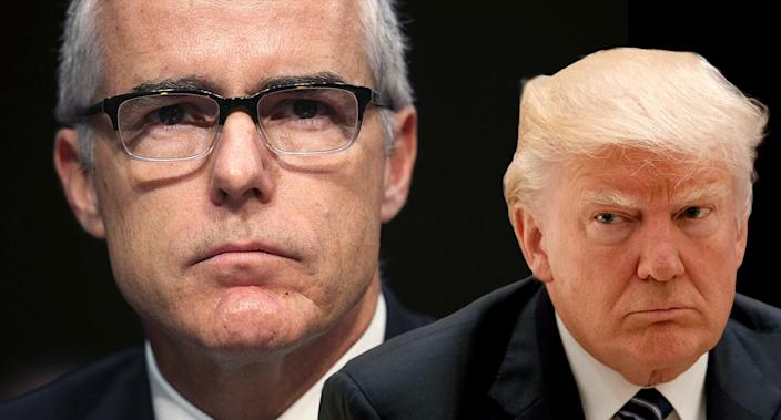 Former FBI Acting Director Andrew McCabe and President Trump. (Photo Illustration: Yahoo News; photos; Alex Wong/Getty Images, AP)