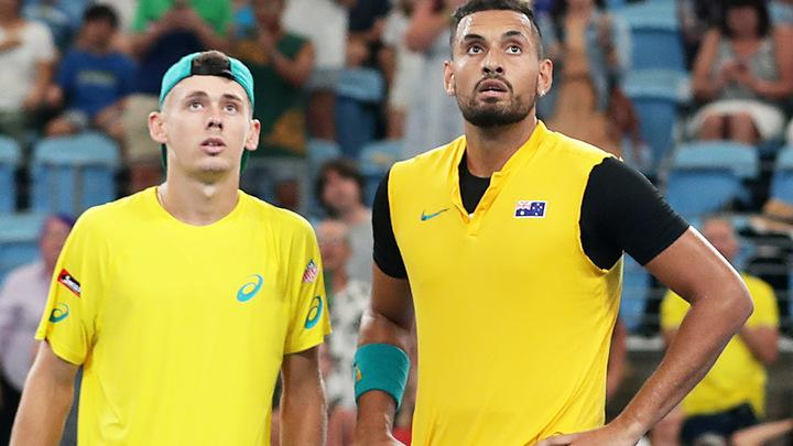 Alex de Minaur and Nick Kyrgios, pictured here in action at the ATP Cup.