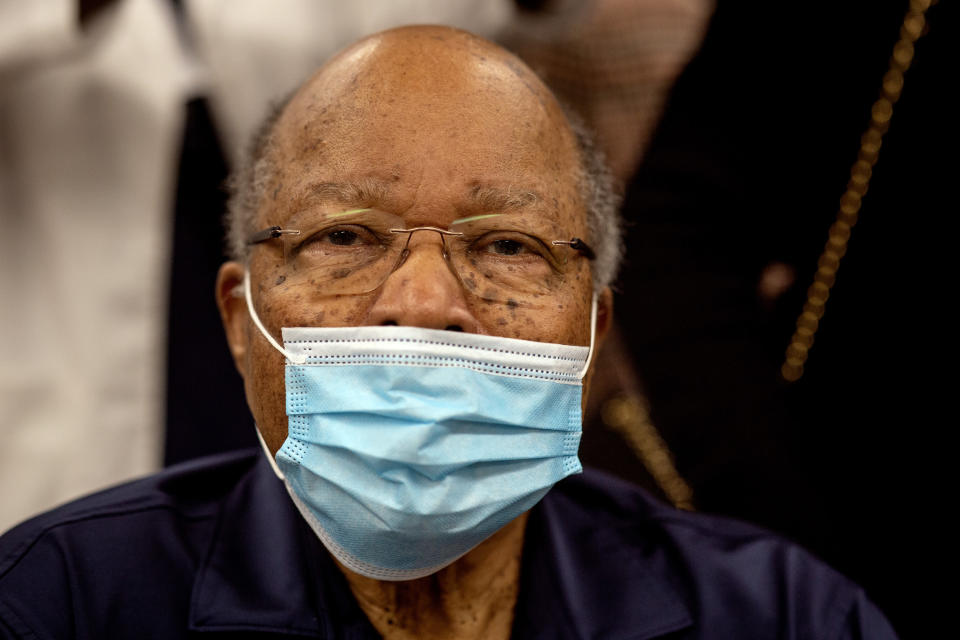 Former Health and Human Services Secretary Louis Sullivan is shown after receiving his COVID-19 vaccination on Tuesday, Jan. 5, 2021, at the Morehouse School of Medicine in Atlanta. Sullivan, baseball great Hank Aaron and others received their vaccinations in an effort to highlight the importance of getting vaccinated for Black Americans who might be hesistant to do so. (AP Photo/Ron Harris)