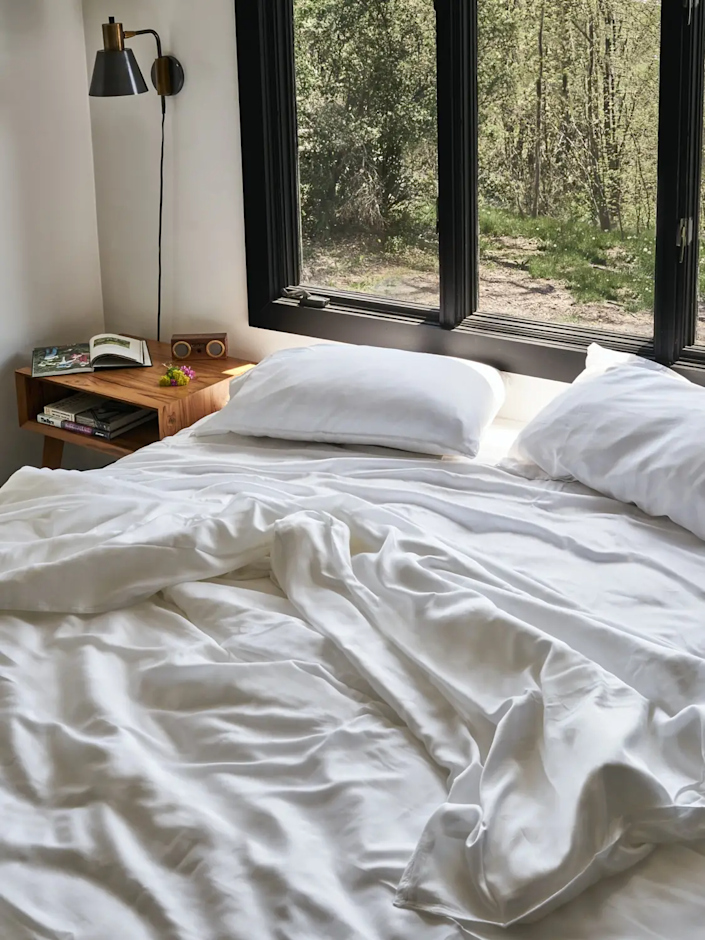 """<h2>Buffy Eucalyptus Sheet Set</h2><br>Make sure he's literally a cool guy with this luxe, sustainable set of 100% eucalyptus fiber sheets. These cool-to-the-touch, breathable sheets help keep sweaty nights at bay. He can also rest easy knowing he's not breathing in anything toxic — even the dye is plant-based and all-natural.<br><br><strong>Buffy</strong> Eucalyptus Sheets Set - Queen Size, $, available at <a href=""""https://go.skimresources.com/?id=30283X879131&url=https%3A%2F%2Fbuffy.co%2Fproducts%2Feucalyptus-sheets%3Fcolor%3DDark%2520Gray%26size%3DQueen"""" rel=""""nofollow noopener"""" target=""""_blank"""" data-ylk=""""slk:Buffy"""" class=""""link rapid-noclick-resp"""">Buffy</a>"""