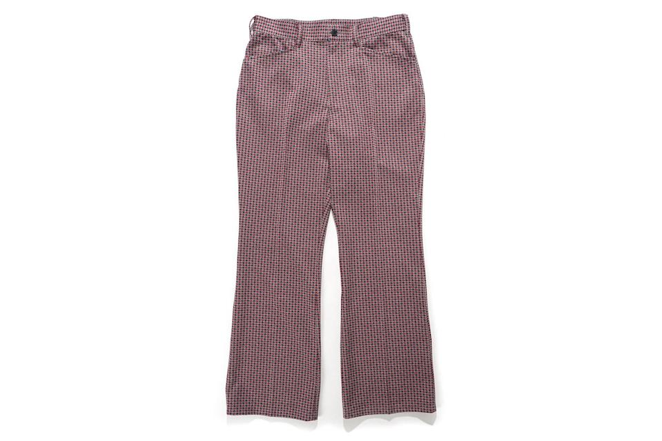 """$283, Nepenthes. <a href=""""https://nepenthesny.com/collections/new-arrivals/products/boot-cut-student-pant-windmill-poly-jacquard"""" rel=""""nofollow noopener"""" target=""""_blank"""" data-ylk=""""slk:Get it now!"""" class=""""link rapid-noclick-resp"""">Get it now!</a>"""