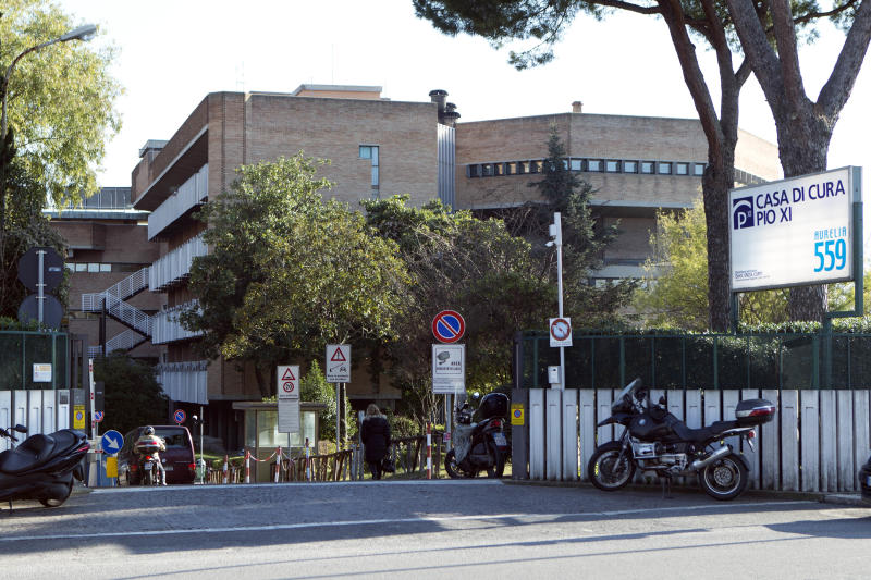 A view of the Pio XI clinic where Pope Benedict XVI underwent surgery to replace his pacemaker's battery, in Rome, Thursday Feb. 14, 2013. On Thursday, the Vatican's spokesman acknowledged an Italian newspaper report that Benedict hit his head and bled profusely while visiting Mexico in July. Two days earlier the spokesman acknowledged that Benedict has had a pacemaker for years _ and underwent a secret operation to replace its battery just three months ago. For an institution devoted to the eternal truth, the Vatican has shown itself to be a master of smokescreens since Pope Benedict XVI's resignation announcement. (AP Photo/Andrew Medichini)
