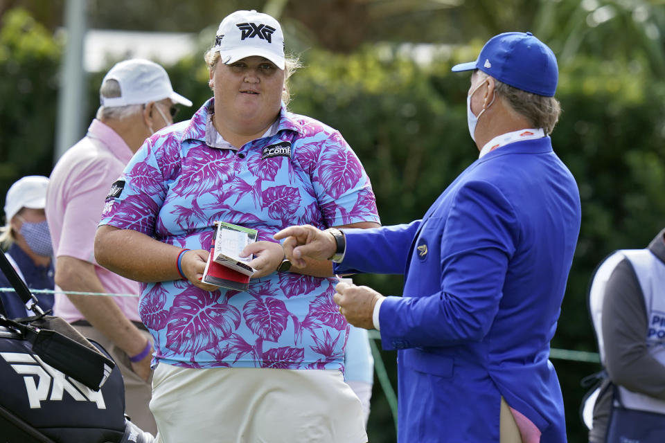 Haley Moore talks to the starter on the first hole during the first round of the LPGA Pelican Women's Championship golf tournament Thursday, Nov. 19, 2020, in Belleair, Fla. (AP Photo/Chris O'Meara)