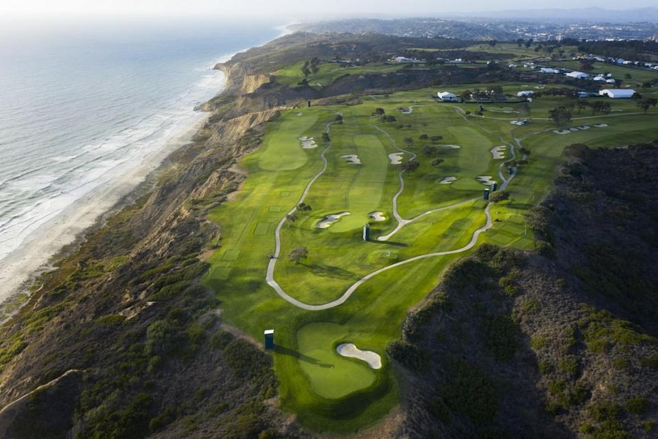 The fourth hole, left, fifth hole, center, and third hole at Torrey Pines South Course, the site of the 2021 U.S. Open.