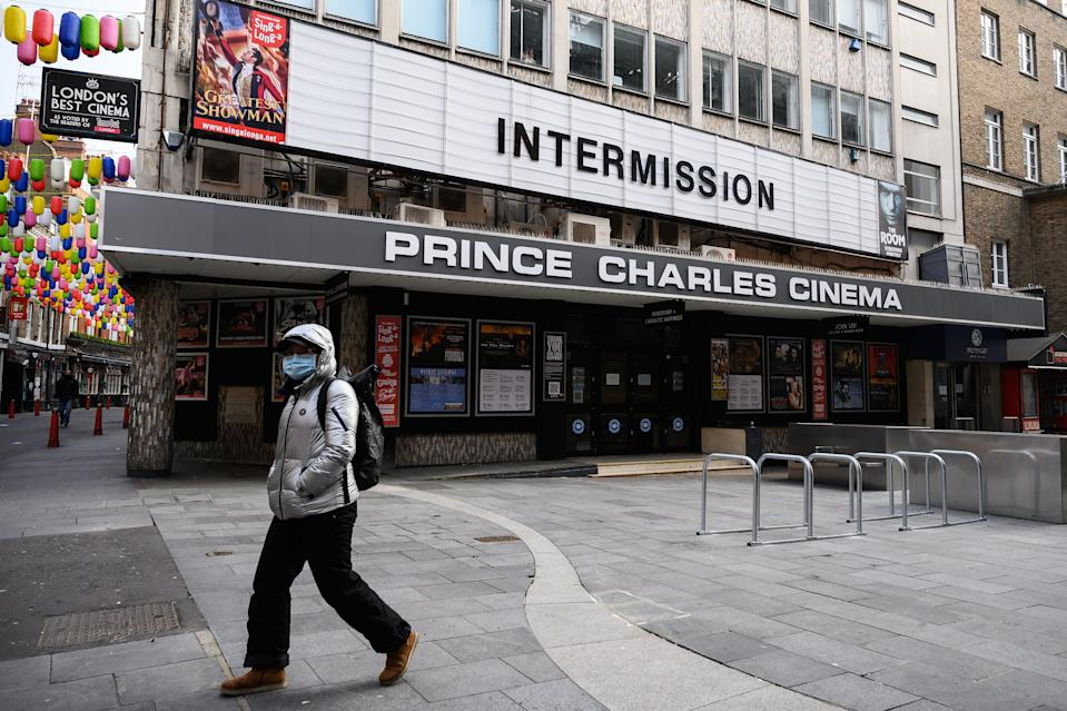 The temporarily closed Prince Charles Cinema in London on November 05, 2020. (Photo by Leon Neal/Getty Images)