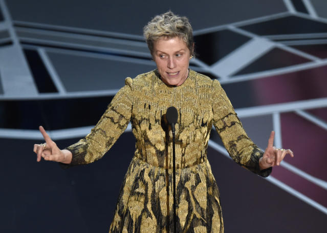 Frances McDormand accepts the award for Best Actress at the Oscars. (Photo by Chris Pizzello/Invision/AP)