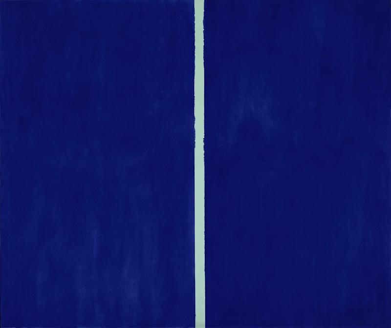 """FILE - This undated file photo provided by Sotheby's Auction House shows a 1953 painting entitled """"Onement VI"""" by Abstract Expressionist Barnett Newman. The painting sold at auction Tuesday, May 14, 2013 by Sotheby's in New York for over $43.8 million. Sotheby's said Tuesday that """"Onement VI"""" set a new record for the abstract expressionist artist. (AP Photo/Sotheby's Auction House, File)"""