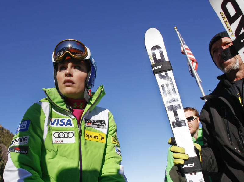 Lindsey Vonn, of the United States, waits during practice for the women's World Cup ski race in Aspen, Colo. on Friday, Nov. 23, 2012. (AP Photo/Alessandro Trovati)