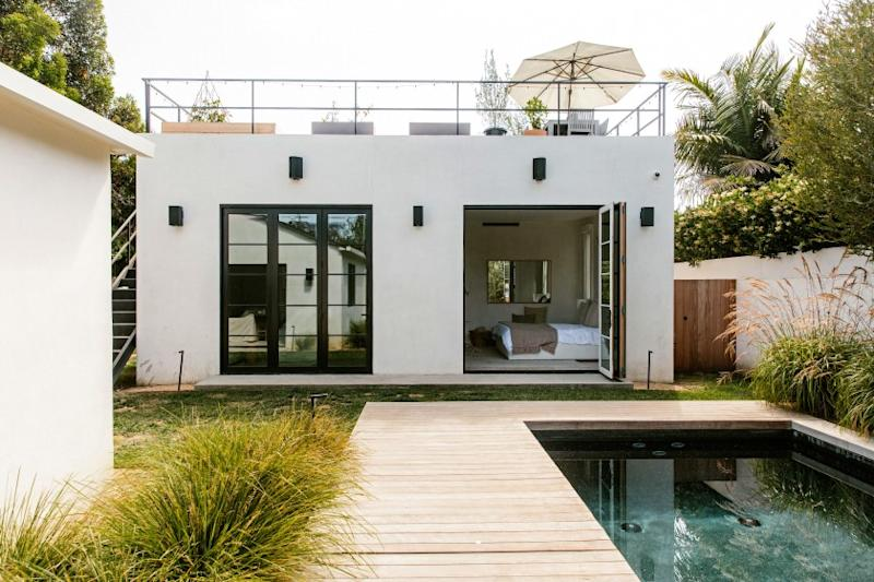 A former owner of the Venice got hands-on when it came time to renovate the 1950s bungalow, learning CAD software in order to assist the design process. Listed for $3.895 million, the single-story house has a clean aesthetic with white plaster walls, bleached French oak floors and picture windows that let in natural light. Outside, the fenced and gated residence has a small swimming pool that is surrounded by decking. A guest suite with a kitchenette sits nearby.