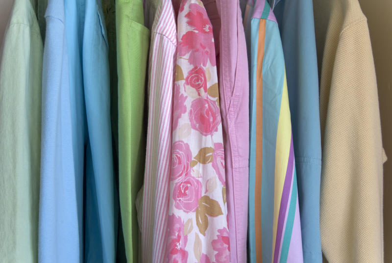 """Bedroom closet, background of organized summer clothing, women's clothing; blouses and pants. (SEE LIGHTBOXES BELOW for spring closet garments, cleaning, neatness & concept photos...)"""