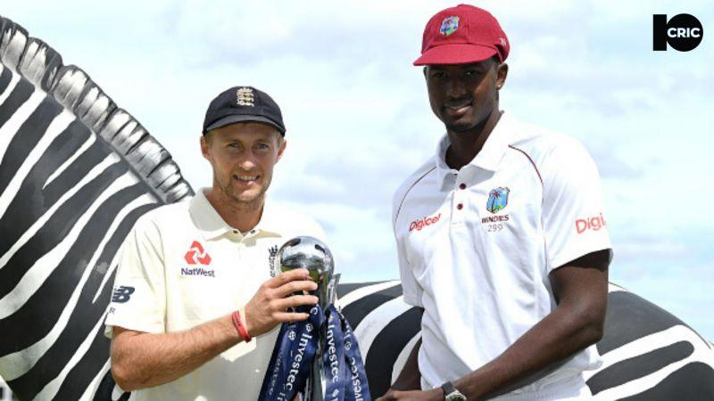 Joe Root (L) and Jason Holder (R) will lead their respective teams as international cricket resumes