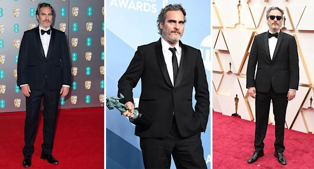 The Oscar-winning actor pledged to wear the same Stella McCartney suit for every awards ceremony of 2020. (Getty Images)