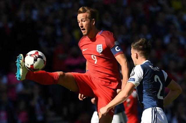 England's striker Harry Kane controls the ball during the group F World Cup qualifying football match against Scotland June 10, 2017 (AFP Photo/Paul ELLIS)