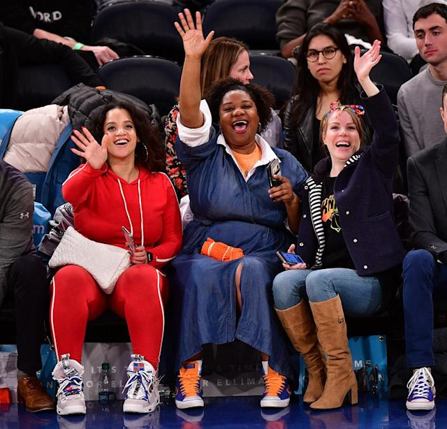 <p>Ballers! The ladies of <em>Orange is the New Black</em> had a blast courtside at Madison Square Garden Tuesday night as they caught a game between the New York Knicks and Dallas Mavericks. (Photo: James Devaney/Getty Images) </p>