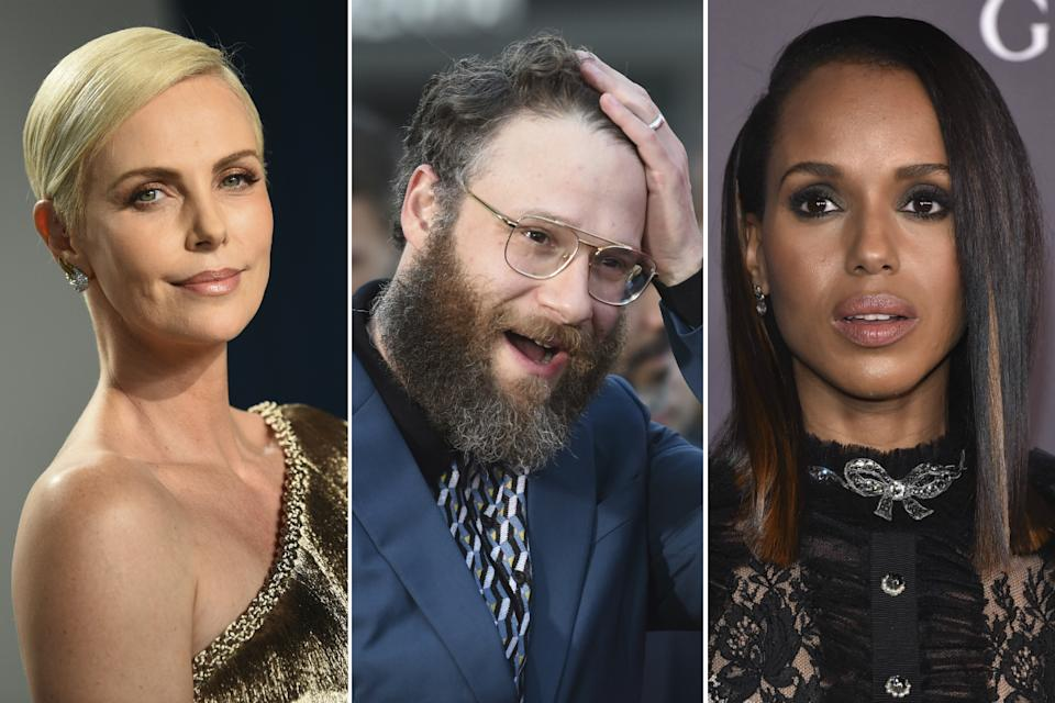 Charlize Theron, Seth Rogen and Kerry Washington (Credit: AP)