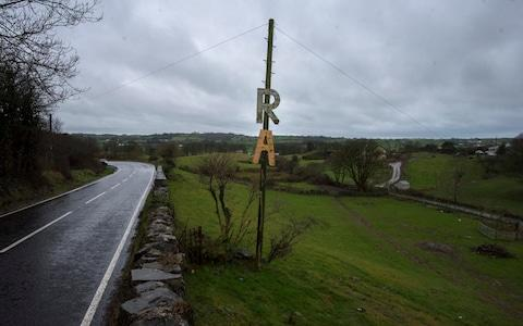 The remnants of an IRA sign, in heart of South Armagh's 'bandit country' - Credit: Geoff Pugh / Telegraph