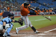 Baltimore Orioles' Austin Wynns (61) connects for a grand slam off Tampa Bay Rays starting pitcher Rich Hill during the fifth inning of a baseball game Saturday, June 12, 2021, in St. Petersburg, Fla. (AP Photo/Chris O'Meara)