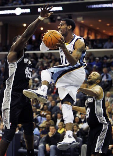 Memphis Grizzlies guard Mike Conley (11) looks to pass around San Antonio Spurs center DeJuan Blair (45) and guard Tony Parker (9), of France, in the first half of an NBA basketball game on Monday, Jan. 30, 2012, in Memphis, Tenn. (AP Photo/Jim Weber)