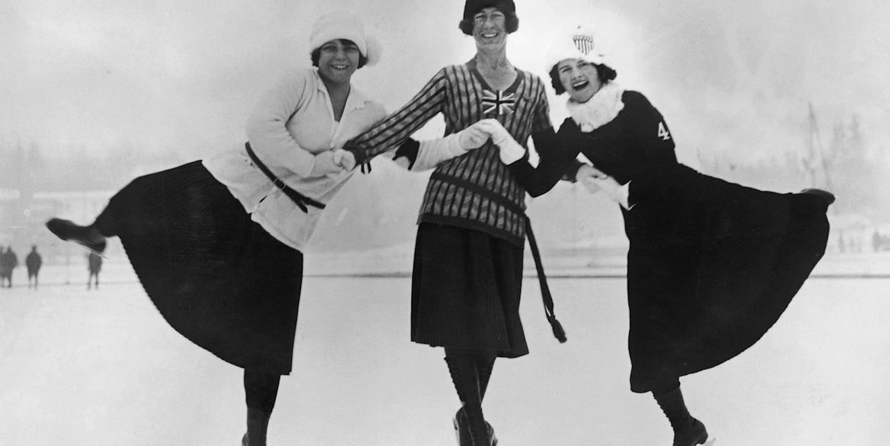 <p>Herma Planck-Szabo of Hungary (left), Ethel Muckelt of England (center) and Beatrix Loughran (right) of the U.S.A. pose in sweater and skirt combinations at the first-ever Winter Olympics in Chamonix, France. Longer skirts paired with cashmere sweaters was a common combination for women ice skaters in the '20s. </p>
