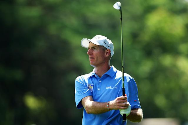 ROCHESTER, NY - AUGUST 11: Jim Furyk of the United States watches a shot to the first green during the final round of the 95th PGA Championship on August 11, 2013 in Rochester, New York. (Photo by Andrew Redington/Getty Images)