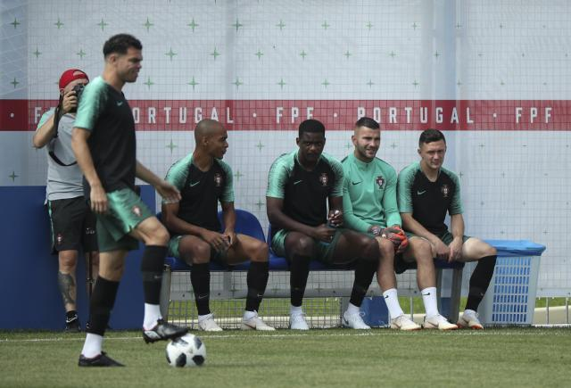 Soccer Football - World Cup - Portugal Training - Kratovo, Moscow Region, Russia - June 24, 2018. Players attend a training session. REUTERS/Albert Gea