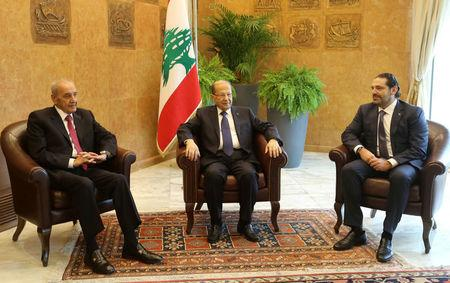 Lebanese President Michel Aoun meets with Saad al-Hariri who announced his resignation as Lebanon's prime minister from Saudi Arabia and Lebanese Parliament Speaker Nabih Berri at the presidential palace in Baabda