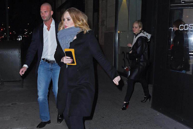 Adele and Jennifer Lawrence leaving Cosme (Buzz Foto/REX/Shutterstock)