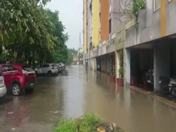 Water accumulated in Bharat City in Ghaziabad (Photo/ANI)