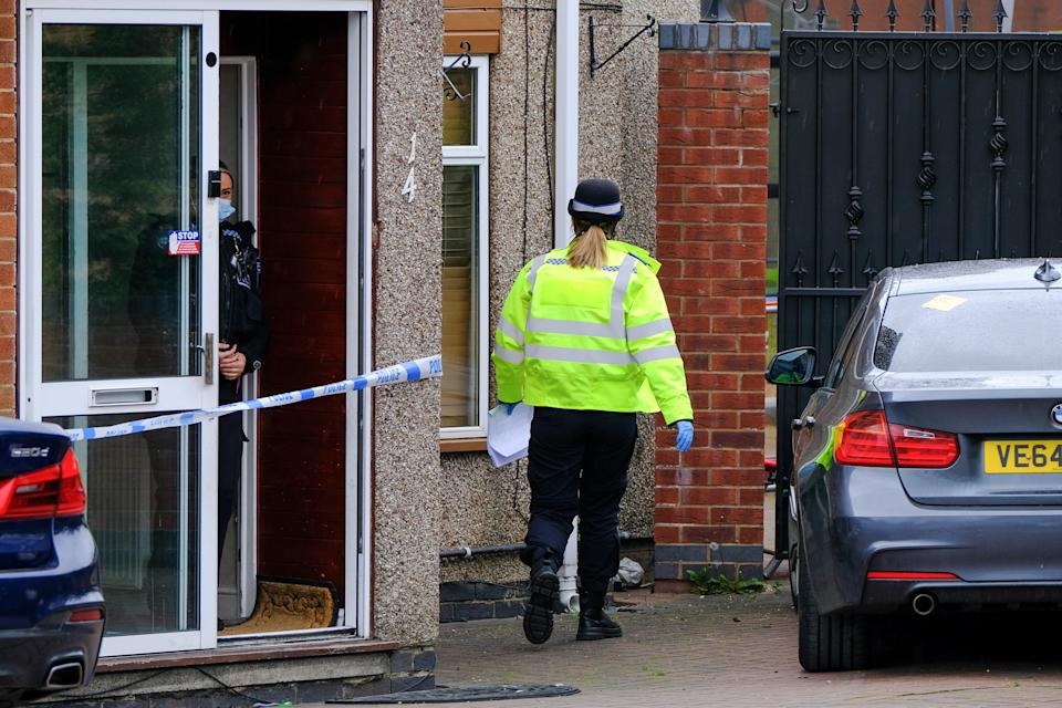 The scene in Treviscoe Close in Exhall near Coventry where police are investigating the death of a man. (SWNS)