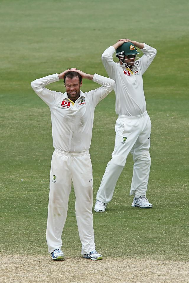 ADELAIDE, AUSTRALIA - NOVEMBER 26: ?Rob Quiney and Ed Cowan of Australia reacts during day five of the Second Test Match between Australia and South Africa at Adelaide Oval on November 26, 2012 in Adelaide, Australia.  (Photo by Morne de Klerk/Getty Images)