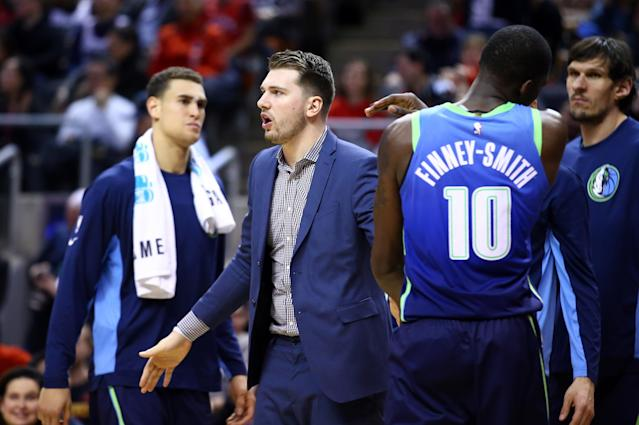 """<a class=""""link rapid-noclick-resp"""" href=""""/nba/players/6014/"""" data-ylk=""""slk:Luka Doncic"""">Luka Doncic</a> could return to action Thursday. (Vaughn Ridley/Getty Images)"""