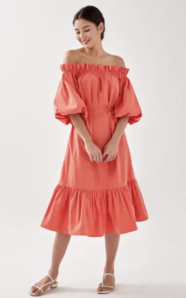 PHOTO: Love, Bonito. Lucette Ruched Off Shoulder Midi Dress