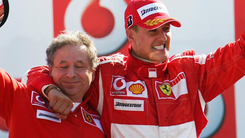 Michael Schumacher with Jean Todt at the Italian Grand Prix in 2006. (Photo by Vladimir Rys/Bongarts/Getty Images)