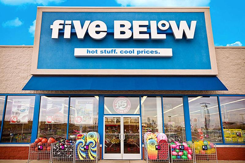 Exterior of a Five Below store.