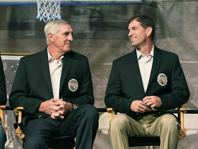 Jerry Sloan (L) was inducted into the Naismith Memorial Basketball Hall of Fame alongside his longtime point guard John Stockton in 2009. (Photo by Jim Rogash/Getty Images)