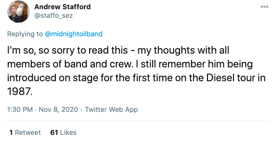 I'm so, so sorry to read this - my thoughts with all members of band and crew. I still remember him being introduced on stage for the first time on the Diesel tour in 1987.