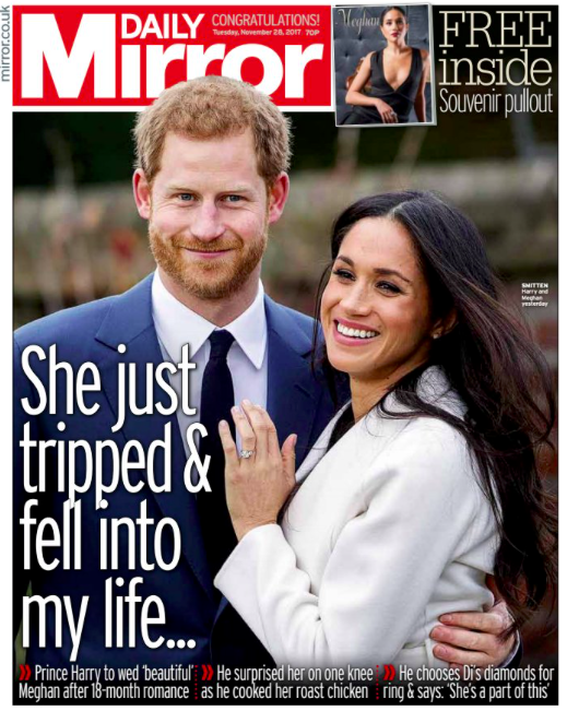 <em>The Mirror also feature a full front page devoted to the newly-engaged couple</em>