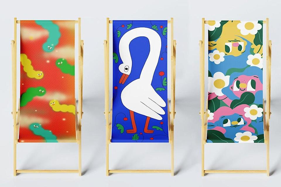 Sitting pretty: Aysha Tengiz is one of 30 artists who have contributed to DIY Art Market's deckchairs
