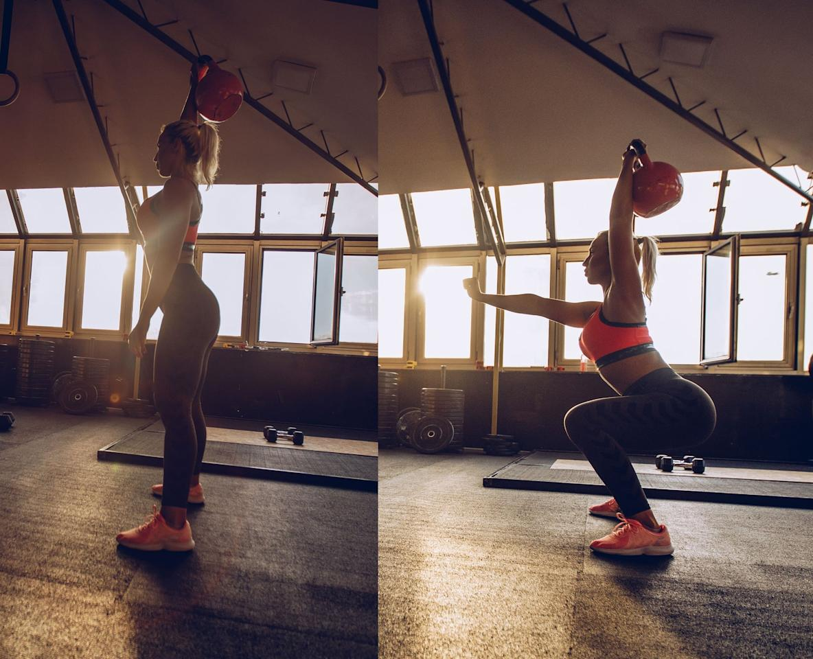 <ul> <li>Stand with your feet slightly wider than hip-distance apart.</li> <li>Hold a kettlebell or dumbbell in your right hand and straighten your arm overhead. If this is too difficult, or you don't have the shoulder mobility, bend the elbow and rest the weight on your shoulder.</li> <li>With the weight overhead and the elbow locked out, keep the core engaged as you bend the knees into a squat, lowering the hips just below the knees. Extend the left arm out for balance. (The photo on the right is demonstrating the exercise on the other side).</li> <li>Try to keep equal weight in both feet as you stand up, keeping the right arm straight.</li> <li>This counts as one rep.</li> </ul>