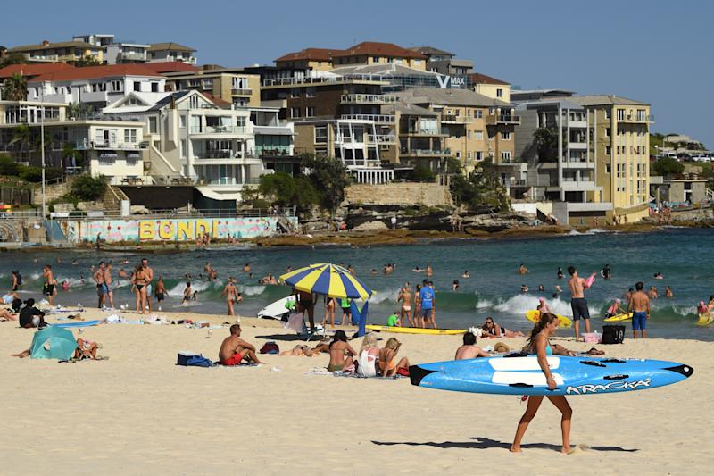 Bondi Beach on hot day as Australia prepares for long string of hot summer weather.