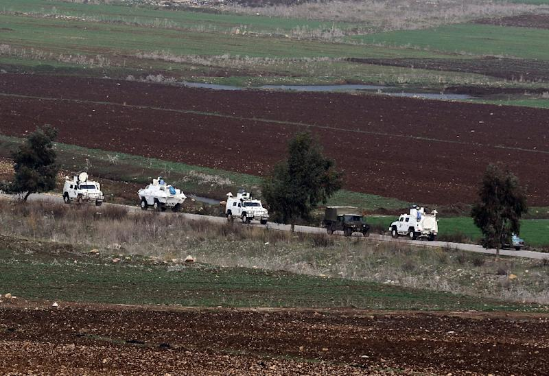 A joint Lebanese army and United Nations Interim Forces in Lebanon (UNIFIL) convoy drive down a road in the Lebanese town of Marjayoun on border with Israel in this file picture taken on January 5, 2016