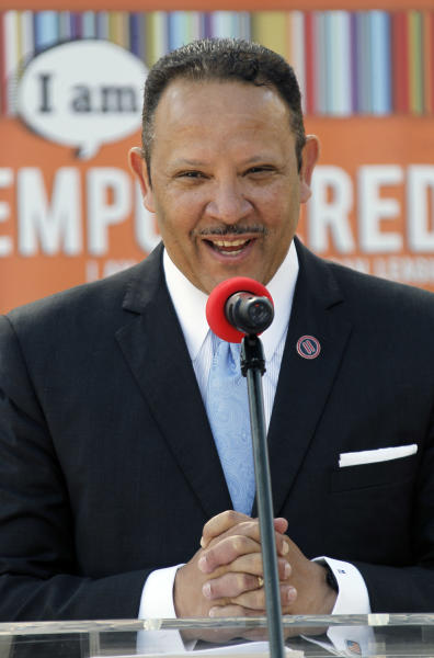 Marc H. Morial, president and CEO of the National Urban League discusses the pilot program the league and Tyson Foods Inc., have launched targeting hunger in Mississippi, Thursday, June 21, 2012, in Jackson, Miss. The program is designed to reduce hunger in Mississippi, one of the poorest states in the nation. (AP Photo/Rogelio V. Solis)
